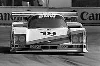 MIAMI, FL - MARCH 2: The BMW North America March 86G 2/BMW is driven by David Hobbs and John Watson during the Lowenbrau Grand Prix of Miami IMSA GTP race on the temporary street circuit in Bicentennial Park in Miami, Florida, on March 2, 1986.