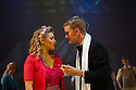 London, UK. 09.10.2014. Mountview Academy of Theatre Arts presents CURTAINS, at the Bernie Grant Arts Centre. Picture shows: Kersten Wright (BAMBI BERNET) and Luke Bayer (CHRISTOPHER BELLING). Photograph © Jane Hobson.