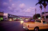 Twilight in downtown Kaunakakai, the small main town on the island of Molokai