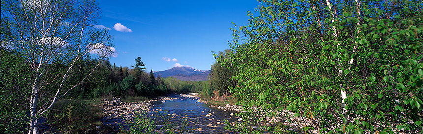 Mt. Washington rises above the Cutler River  near Gorham in New Hampshire's White Mountains.   Photograph by Peter E, Randall