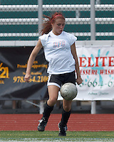 CFC Passion midfielder Casey Hutchinson (6) controls the ball. In a Women's Premier Soccer League (WPSL) match, Aztec MA defeated CFC Passion, 4-0, at North Reading High School Stadium on July 1, 2012.