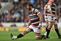 Dom Barrow of Leicester Tigers looks on during a break in play. Aviva Premiership match, between Leicester Tigers and Sale Sharks on April 29, 2017 at Welford Road in Leicester, England. Photo by: Patrick Khachfe / JMP