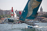 Extreme Sailing Series 2011. Act 3.Turkey . Istanbul..Oman Air Skippered by Sidney Gavignet with teammates Nasser Al Mashari, David Carr and Kinley Fowler.