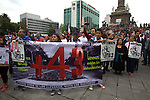 Hundreds of thousand people stage a rally demanding the appearance of the 43 missing students of Ayotzinapa in the main thoroughfares of Mexico city, September 26, 2015. The parents of the 43 students of Ayotzinapa met the Mexican president Enrique Pena Nieto on September 24, 2015 for the second time in a year demanding to find alive the abducted students. Photo by Heriberto Rodriguez