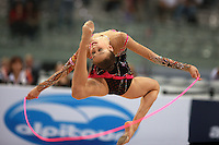 Evgenia Kanaeva of Russia stag leaps with rope on way to winning All-Around gold at 2008 European Championships at Torino, Italy on June 6, 2008.  Photo by Tom Theobald.