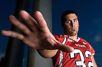 THIS IS MY SECOND FAVORITE---Eric Weddle U of U defensive back and linebacker portrait shoot on the U of U campus Presidents Circle in Salt Lake City, Utah  Tuesday July 25, 2006.  August Miller/Deseret Morning News