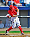 12 March 2012: Washington Nationals third baseman Ryan Zimmerman connects for a double in the first inning during a Spring Training game against the St. Louis Cardinals at Space Coast Stadium in Viera, Florida. The Nationals defeated the Cardinals 8-4 in Grapefruit League play. Mandatory Credit: Ed Wolfstein Photo