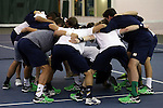 13 March 2016: Notre Dame's players huddle before the match. The Wake Forest University Demon Deacons hosted the University of Notre Dame Fighting Irish at the Wake Forest Indoor Tennis Center in Winston-Salem, North Carolina in a 2015-16 NCAA Division I Men's Tennis match. Wake Forest won the match 7-0.