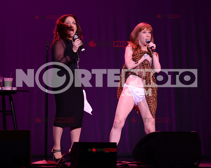 HOLLYWOOD FL - JUNE 2 : Kathy Griffin is joined on stage by Gloria Estefan as she performs at Hard Rock Live at the Seminole Hard Rock hotel & Casino on June 2, 2012 in Hollywood, Florida. © mpi04/MediaPunch Inc.