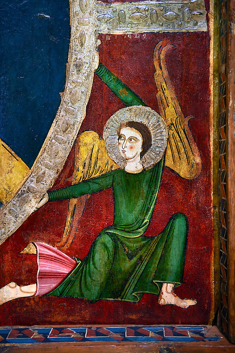 Romanesque painted Canopy of Tav&egrave;rnoles.<br /> <br /> Second quarter of the thirteenth century  from the ancient monastery of St. Sernin Tav&egrave;rnoles valleys Valira Alt Urgell, Spain<br /> <br /> Acquired by the National Art Museum of Catalonia, Barcelona 1906. Ref: 24060 MNAC.<br /> <br /> Romanesque canopy-type panel with its cut supporting beams still visible. The panel is decorated with a painted image of Christ in Majesty or Christ Pantocrator in a mandorla which is supported by four angelic figures that evoke the theme of the Ascension. The canopy was discovered in the early twentieth century in the monastery of St. Sernin Tavernoles, half hidden by a Gothic altarpiece.