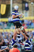 Dave Attwood of Bath Rugby wins the ball at a lineout. Aviva Premiership match, between Bath Rugby and Newcastle Falcons on September 10, 2016 at the Recreation Ground in Bath, England. Photo by: Patrick Khachfe / Onside Images