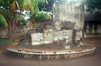 Concrete encased tank left over from the Contra War, Monumento de la Paz, Managua, Nicaragua