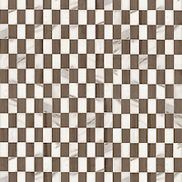 Gridded Check 3 x 5 cm, a hand-cut stone mosaic, shown in polished Calacatta and Driftwood.
