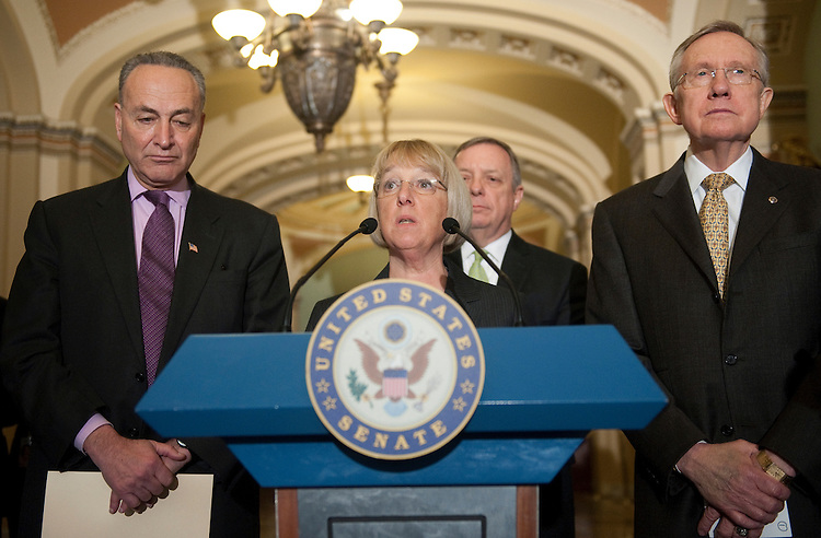 """UNITED STATES - MARCH 1: Sen. Chuck Schumer, D-N.Y., Sen. Patty Murray, D-Wa., Sen. Dick Durbin, D-Il., and Senate Majority Leader Harry Reid, D-Nv., speak to the press after the Senate voted 51 to 48 to reject a controversial amendment that would have overridden the Obama Administration's new contraception coverage rule and allowed any employer to refuse to cover any kind of health care service by citing """"moral reasons."""" (Photo By Chris Maddaloni/CQ Roll Call)"""