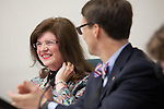 Outgoing mayor, Val Carpenter, wears a bowtie - gently mimicking the signature look of incoming mayor, Jarrett Fishpaw.