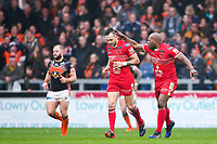 Picture by Alex Whitehead/SWpix.com - 19/03/2017 - Rugby League - Betfred Super League - Salford Red Devils v Castleford Tigers - AJ Bell Stadium, Salford, England - Salford's Gareth O'Brien is congratulated by Rob Lui on his drop-goal.