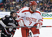 Braden Pimm (NU - 14), Cason Hohmann (BU - 7) - The Northeastern University Huskies defeated the Boston University Terriers 3-2 in the opening round of the 2013 Beanpot tournament on Monday, February 4, 2013, at TD Garden in Boston, Massachusetts.