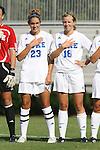 24 August 2008: Duke's Ashley Rape (23) and Kelly McCann (18). The Duke University Blue Devils defeated the Coastal Carolina University Lady Chanticleers 9-0 at Koskinen Stadium in Durham, North Carolina in an NCAA Division I Women's college soccer game.