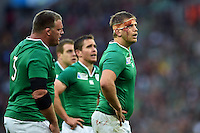 A bloodied Chris Henry of Ireland looks on during a break in play. Rugby World Cup Pool D match between Ireland and Romania on September 27, 2015 at Wembley Stadium in London, England. Photo by: Patrick Khachfe / Onside Images