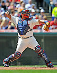 14 September 2008: Cleveland Indians' catcher Sal Fasano in action against the Kansas City Royals at Progressive Field in Cleveland, Ohio. The Royal defeated the Indians 13-3 to take the 4-game series three games to one...Mandatory Photo Credit: Ed Wolfstein Photo