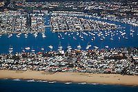 aerial view above Newport Beach Orange County California