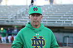 CARY, NC - MARCH 03: Notre Dame head coach Mik Aoki. The University of Maryland Terrapins played the University of Notre Dame Fighting Irish on March 3, 2017, at USA Baseball NTC Stadium Field in Cary, NC in a Division I College Baseball game, and part of the Irish Classic tournament. Maryland won the game 4-3.