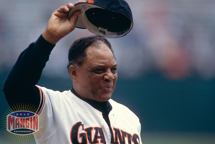 SAN FRANCISCO, CA - Willie Mays of the San Francisco Giants tips his cap before an old timers game at Candlestick Park in San Francisco, California in 1993. Photo by Brad Mangin