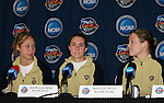 2 December 2006: Notre Dame's Jen Buczkowski (center) answers a question as Amanda Cinalli (l) and Brittany Bock (r) watch. The University of Notre Dame Fighting Irish held a press conference at SAS Stadium in Cary, North Carolina one day before playing in the NCAA Division I Women's College Cup championship game.