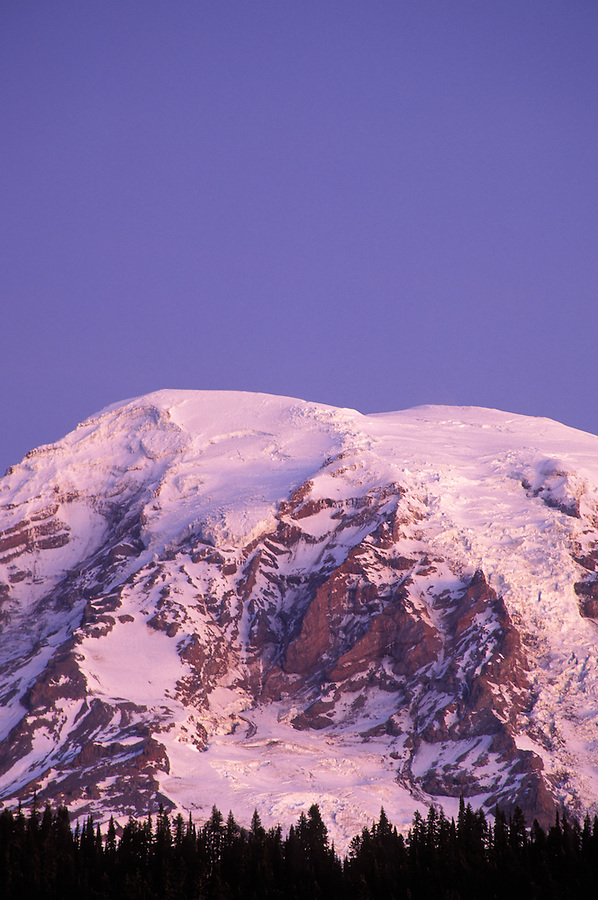 Sunrise on Mount Rainier above tree line, from Reflection Lakes, Mount Rainier National Park, Lewis County, WA