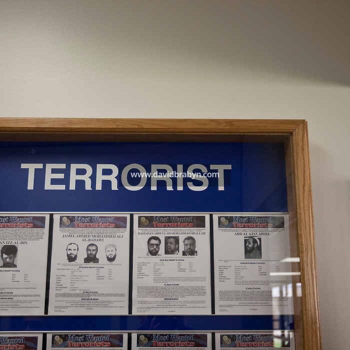 View of a display listing the FBI's most wanted terrorists on a wall at the FBI National Academy in Quantico, VA, USA, 12 May 2009.