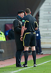 Hearts v St Johnstone...05.02.12.. Scottish Cup 5th Round.Steve Lomas gets a lecture from ref Craig Thomson.Picture by Graeme Hart..Copyright Perthshire Picture Agency.Tel: 01738 623350  Mobile: 07990 594431