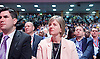 Labour Conference, Brighton, Great Britain <br /> 28th September 2015 <br /> <br /> Lilian Greenwood MP shadow Transport minister <br /> watches as <br /> <br /> John McDonnell , shadow Chancellor speaks <br /> <br /> <br /> Photograph by Elliott Franks <br /> Image licensed to Elliott Franks Photography Services