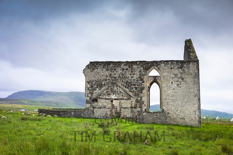 Ruins of church - Scottish Christian kirk -  traditional stone derelict building at Bonnesketaig, Isle of Skye, the Western Isles of Scotland, UK