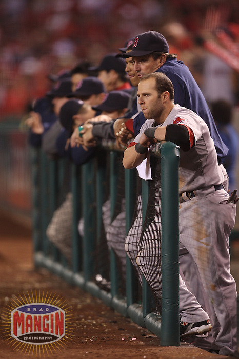 ANAHEIM - OCTOBER 9:  Dustin Pedroia of the Boston Red Sox watches from the dugout in the 9th inning against the Los Angeles Angels of Anaheim during Game 2 of the American League Division Series at Angel Stadium on October 9, 2009 in Anaheim, California. Photo by Brad Mangin