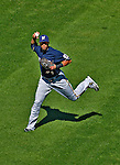 24 September 2012: Milwaukee Brewers outfielder Carlos Gomez in action against the Washington Nationals at Nationals Park in Washington, DC. The Brewers fell 12-2 to the Nationals in the final game of their 4-game series, splitting the series at two. Mandatory Credit: Ed Wolfstein Photo
