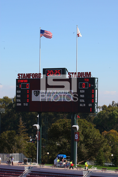 13 October 2007: Scoreboard during Stanford's 38-36 loss against the TCU Horned Frogs at Stanford Stadium in Stanford, CA.