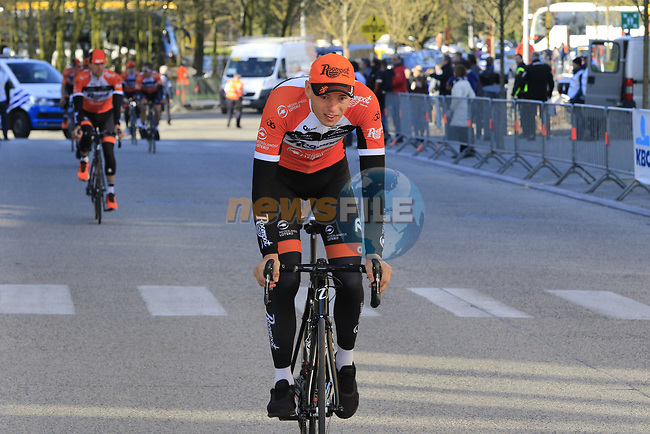 Roompot-Nederlandse Loterij team arrive to sign on before the start of Gent-Wevelgem in Flanders Fields 2017, running 249km from Denieze to Wevelgem, Flanders, Belgium. 26th March 2017.<br /> Picture: Eoin Clarke   Cyclefile<br /> <br /> <br /> All photos usage must carry mandatory copyright credit (&copy; Cyclefile   Eoin Clarke)