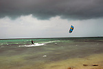 Mike Walsh kiteboards off of Whale Harbor, Islamorada, Florida, in the heavy winds stirred up by hurricane Ike in the Caribbean