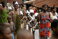 Young girls from the Krobo tribal group walk to a local shrine during the puberty rites - locally called dipo - held in Somanya, Eastern Region, Ghana.