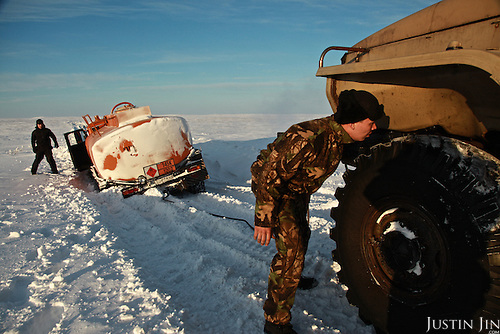 A truck carrying diesel falls into collapsed snow in the Nenets Autonomous Region in the Russian Arctic.
