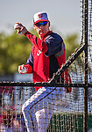 11 March 2014: Washington Nationals Manager Matt Williams throws batting practice prior to a Spring Training game against the New York Yankees at Space Coast Stadium in Viera, Florida. The Nationals defeated the Yankees 3-2 in Grapefruit League play. Mandatory Credit: Ed Wolfstein Photo *** RAW (NEF) Image File Available ***