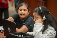 NWA Democrat-Gazette/ANTHONY REYES @NWATONYR<br /> Elizabeth Labout, 12, and Maria Larron, 13, work through a problem together Monday, Feb. 27, 2017 at an after school tutoring session at Hellstern Middle School in Springdale. On this day, they were getting started on their homework list for the week.