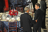 Washington, DC - January 20, 2009 -- White House Chief of Staff Rahm Emanuel and Treasury Secretary Nominee Timothy Geithner at the luncheon at Statuary Hall in the U.S. Capitol in Washington DC following Barack Obama's swearing in as the 44th President of the United States on January 20, 2009..Credit: Amanda Rivkin - Pool via CNP
