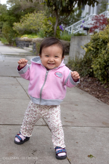 Berkeley CA Guatemalan baby, eleven-months-old, just learning to walk  MR