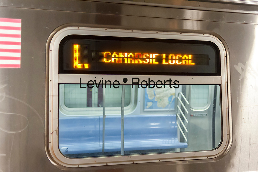 "The Canarsie Line ""L"" train at its Eighth Avenue terminal in New York on Monday, July 25, 2016. Because of salt water damage to the Canarsie tunnel from Hurricane Sandy the MTA will close the line down in Manhattan for 18 months affecting hundreds of thousands of commuters. Trains will end at Bedford Avenue and the shutdown will start in 2019.( © Richard B. Levine)"