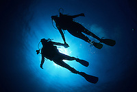 Diver couple silhouette<br />