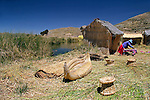 South America, Bolivia, Lake Titicaca. Uros floating reed islands of Lake Titicaca.