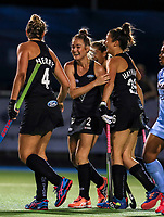 Samantha Harrison celebrates a goal during the international hockey match between the Blacksticks Women and India, Rosa Birch Park, Pukekohe, New Zealand. Tuesday 16  May 2017. Photo:Simon Watts / www.bwmedia.co.nz