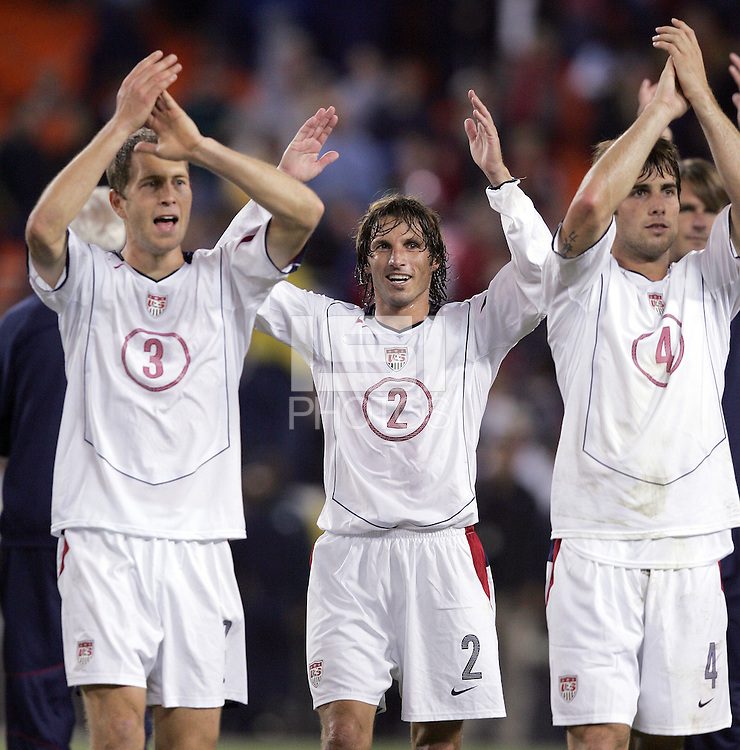 Gregg Berhalter, left, Frankie Hejduk, middle, Carlos Bocanegra, right, Panama vs USA, World Cup qualifier at RFK Stadium, 2004.