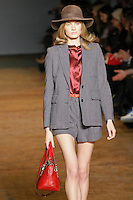 Constance Jablonski walks runway in an outfit from the Marc by Marc Jacobs Fall/Winter 2011 collection, during New York Fashion Week, Fall 2011.